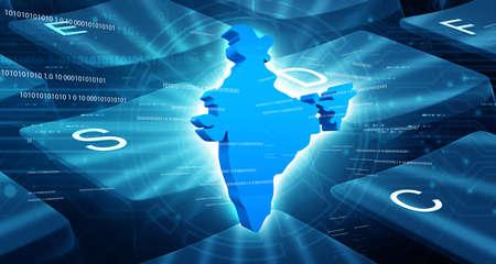 India map technology background. 3d illustration Standard-Bild