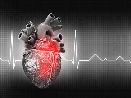 Human Heart on medical background.3d illustration