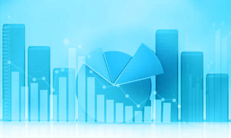 Stock market graph background. 3d illustration