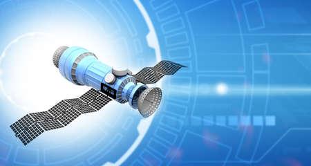 Satellite on technology background. 3d illustration Standard-Bild