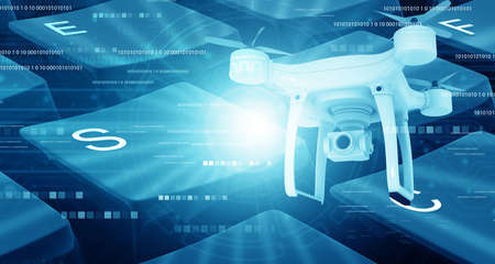 Modern drone under technology background. 3d illustration