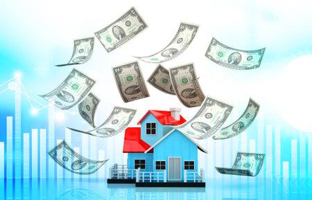 House and dollar on business background. 3d illustration Standard-Bild