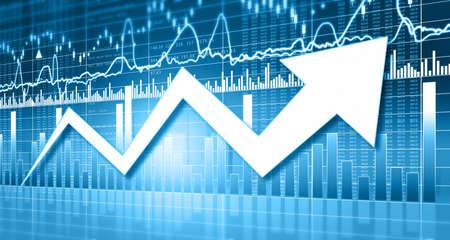 Arrow graph shows stock market growth. 3d illustration Standard-Bild