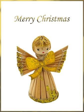 robbon: Isolated Angel on Christmas postcard