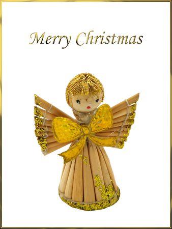 robbon: Isolated Angel on Christmas postcard