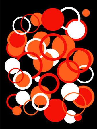 Red, white and orange Circles Vector