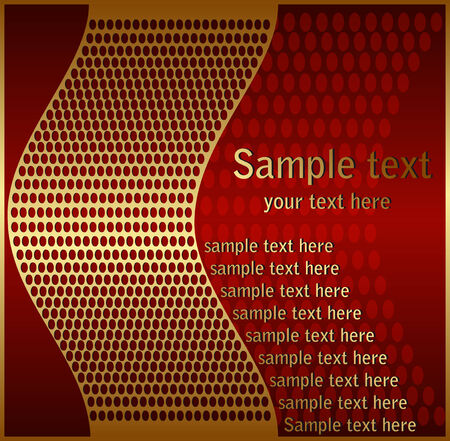 Gold metal mesh on a red background Vector
