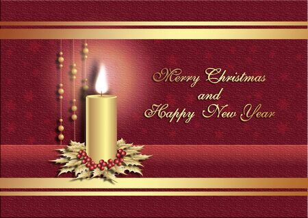 Postcard for Christmas with candle on red background Stock Photo - 5789919