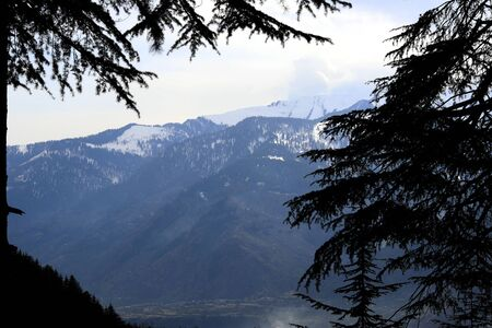 Snow at hills with tree and sky image is taken at manali india showing it amazing natural view.