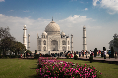 tajmahal image is take at agra uttar pradesh india on 02 apr 2019. It is one of the seven wonders of the world as well as UNSCO world heritage site. It is the symbol of love.