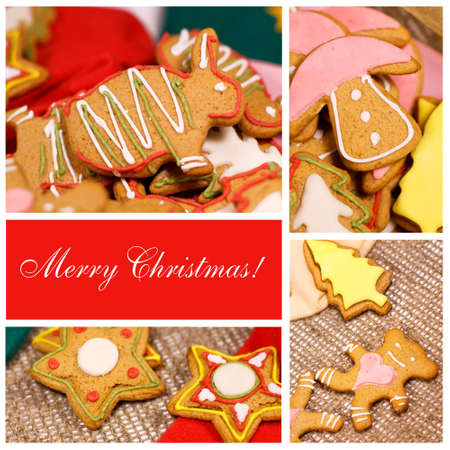 bright card, congratulations and delicious pastries, different forms photo
