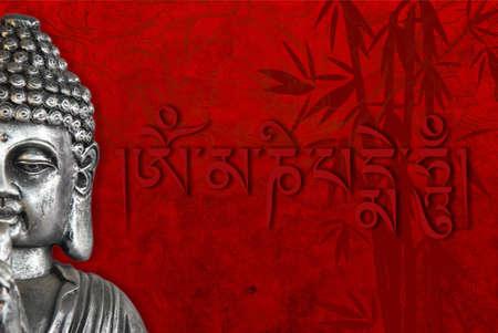 simbolos religiosos: Estatua de Buda con los s�mbolos religiosos y los antecedentes de dise�o