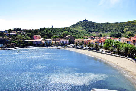 vermilion coast: Mediterranean coast beach sea Collioure with zul and overlooking the bay