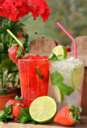 two mojitos strawberry and lime photo