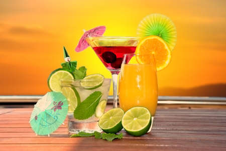 various types of cocktail in autumn evening