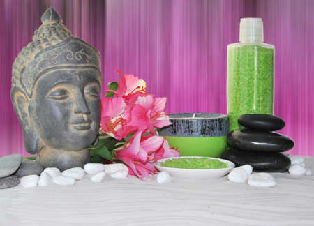 seething: massage bath salt with pink flowers and Buddha statue