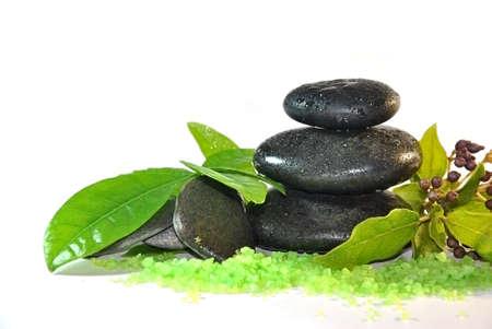 Special stones massage treatments with herbs Standard-Bild