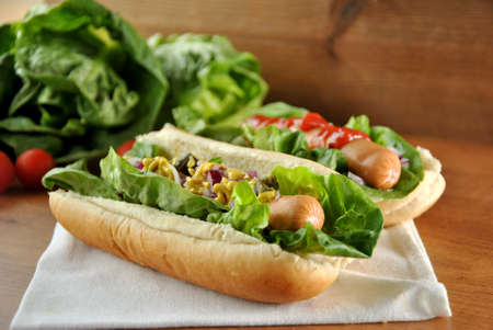 hot sauce: two hot dogs with salad, onions and sauce