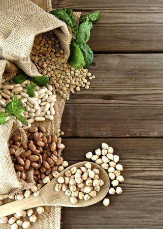lentils, chickpeas, red beans in cloth bags Standard-Bild