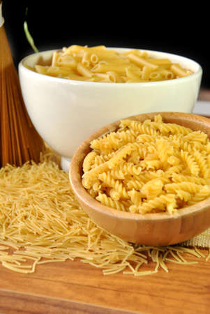 set of various types of macaroni, spaghetti and pasta photo