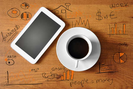 coffee with digital tablet and analytics business photo