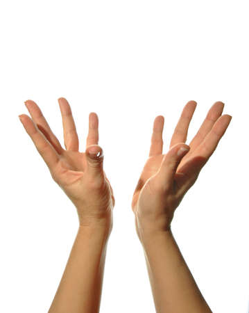 yoga meditation: mudra hands poses on white background Stock Photo