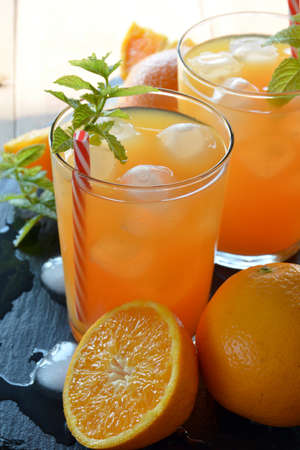 cocktail drinks: refreshing drink orange and mint with a little vodka Stock Photo