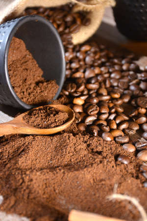 decaffeinated: various types of coffee, beans, decaffeinated etc.