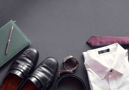 men's clothing: mens clothing along with several accessories such as clock, calendar, belt and shoes