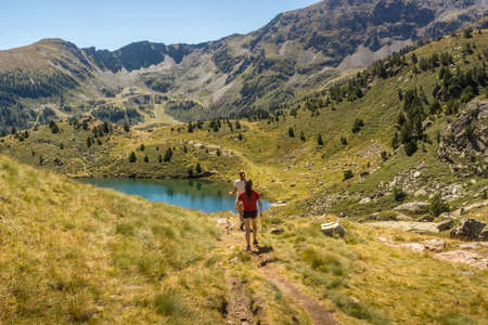 tourism in andorra: Lakes and ski lifts located in Andorra, the country in the Pyrenees.