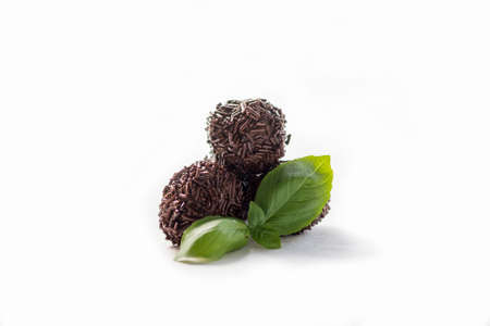 christmas gift: Truffles chocolate made in home, on white background