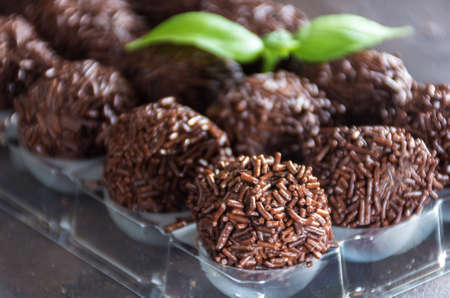 christmas gift: Truffles chocolate made in home, on board it rustic Stock Photo