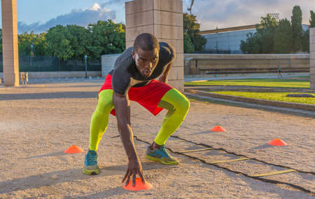 male muscular training ladder to the ground and cones. This serves to increase the speed and reflexes