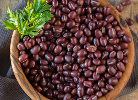 Japanese Red Bean in a bowl of wood