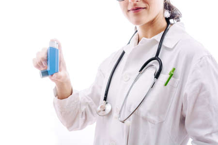Doctor prescribing a medication for respiratory problems such as asthma.