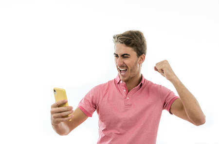 Man with different emotions when making bets on mobile phone