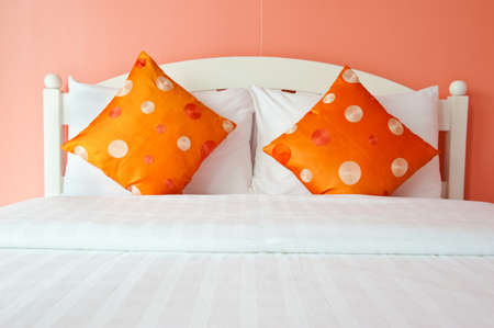 Orange Bedroom in a modern house - home interiors  Stock Photo - 12693598