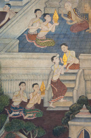 Traditional Thai style painting on the temple wall Stock Photo - 12690099