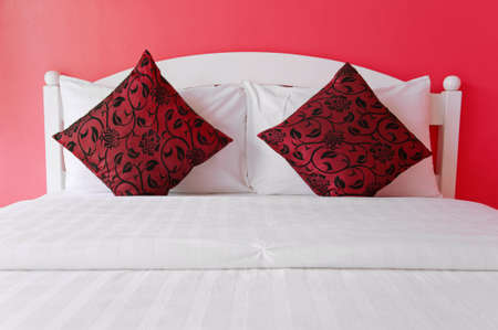 Red bedroom in a modern house - home interiors  photo