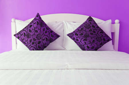 Purple bedroom in a modern house - home interiors  photo