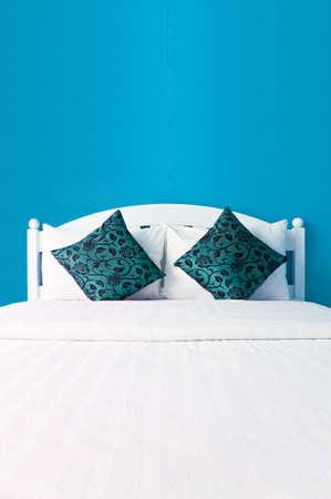 interni casa: Cielo blu camera da letto in una casa moderna - interni casa Archivio Fotografico