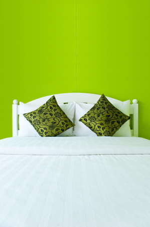 Green Bedroom in a modern house - home interiors   photo