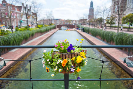 One of the channels in Amsterdam  Focus on the lovely  flowers  Stock Photo - 13057644