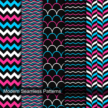 5 Vector seamless geometric patterns. Set of creative simple pattern for your design.
