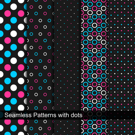 Vector seamless patterns with circles and dots. Creative set of simple patterns.