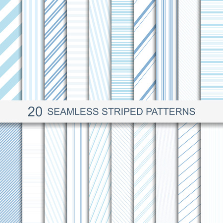 20 seamless striped patterns in soft colors.  イラスト・ベクター素材