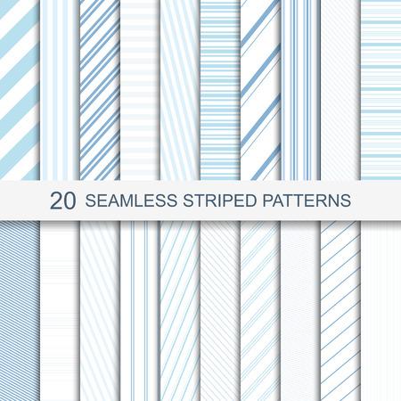 20 naadloze gestreepte patronen in zachte kleuren. Stock Illustratie