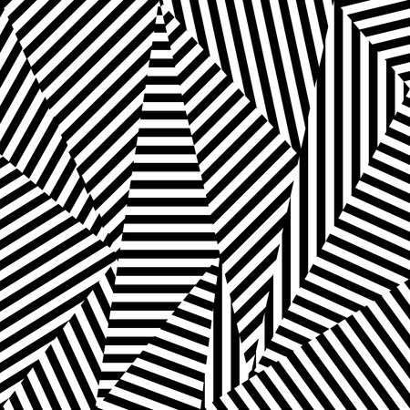 Abstract background of striped shapes. Black and white texture. Illustration