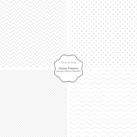 Collection of simple vector patterns. Seamless patterns in white and grey colors.