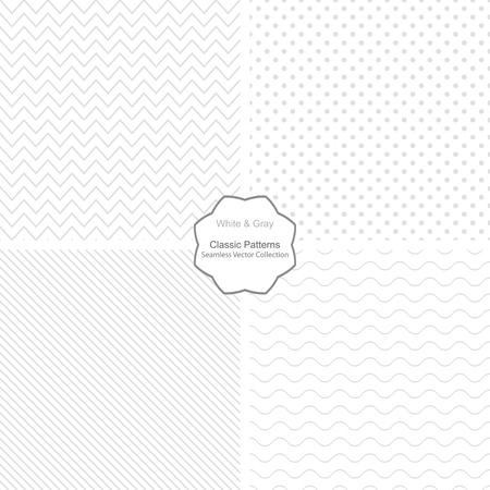 Verzameling van eenvoudige vectorpatronen. Naadloze patronen in witte en grijze kleuren.